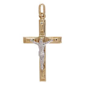Cruz colgante cuadros oro bicolor 750/00 1,25 gr s1