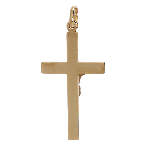 Cross pendant rectangles 750/00 bicolor gold 1.25 gr 2