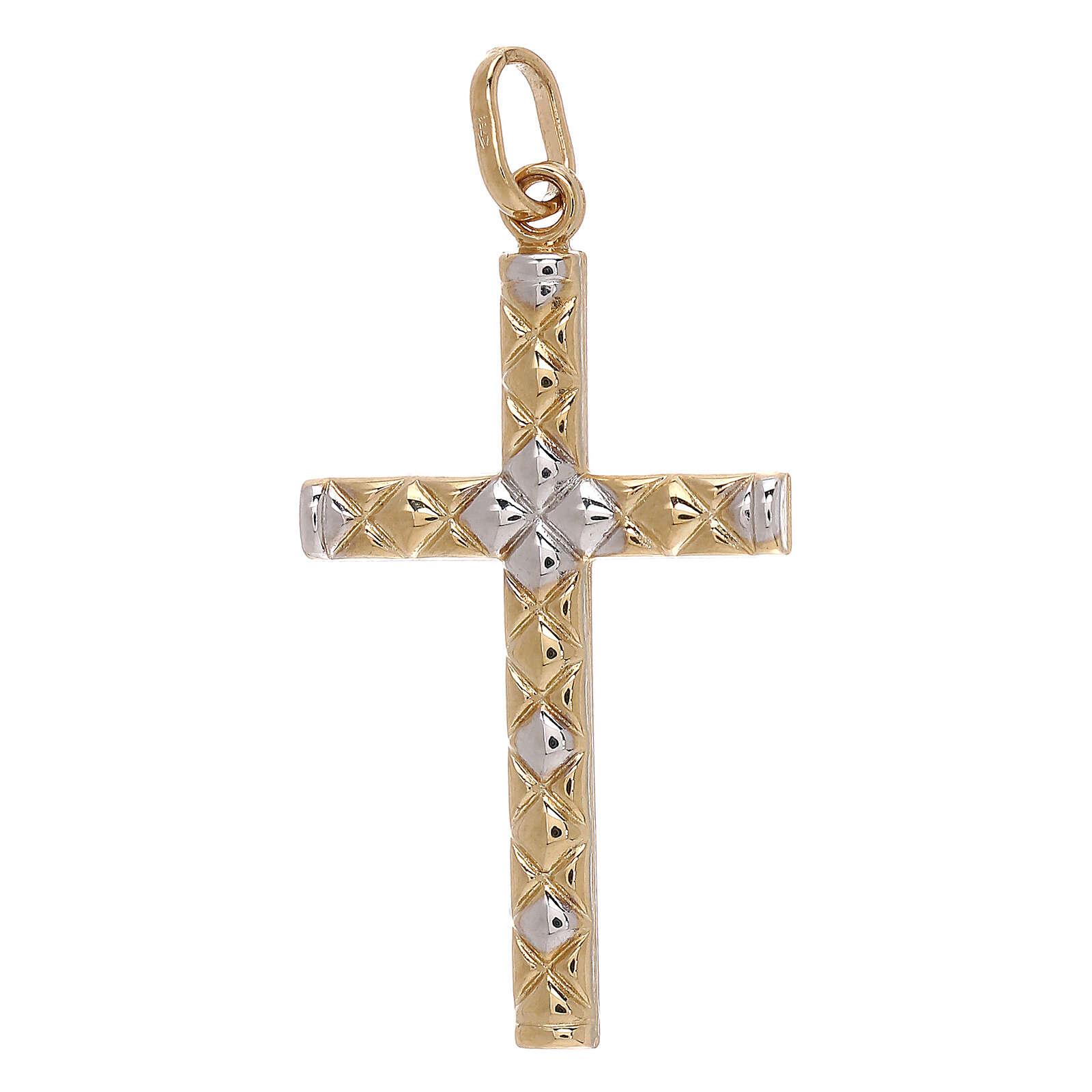 Pendentif croix détail filet or bicolore 18K 1,15 gr 4