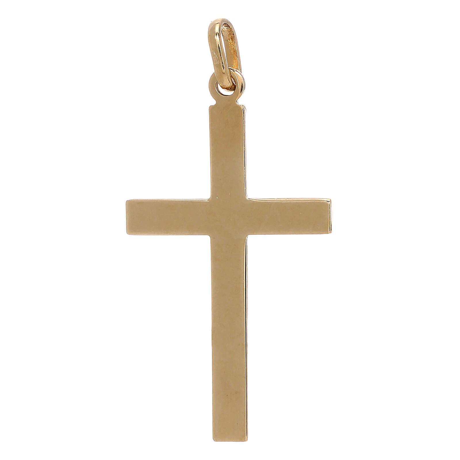 Cross pendant net pattern bicolor 18-carat gold 1.15 gr 4