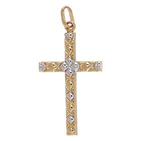 Cross pendant net pattern bicolor 18-carat gold 1.15 gr s1
