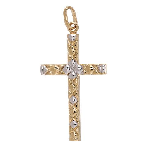 Cross pendant net pattern bicolor 18-carat gold 1.15 gr 1
