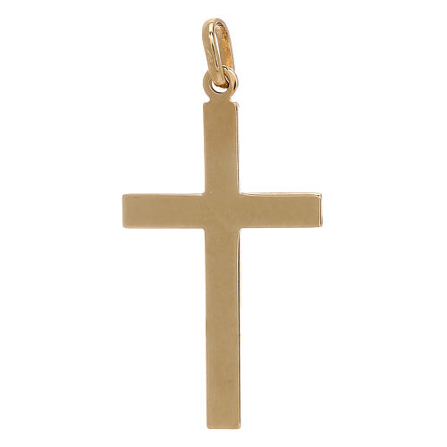 Cross pendant net pattern bicolor 18-carat gold 1.15 gr 2