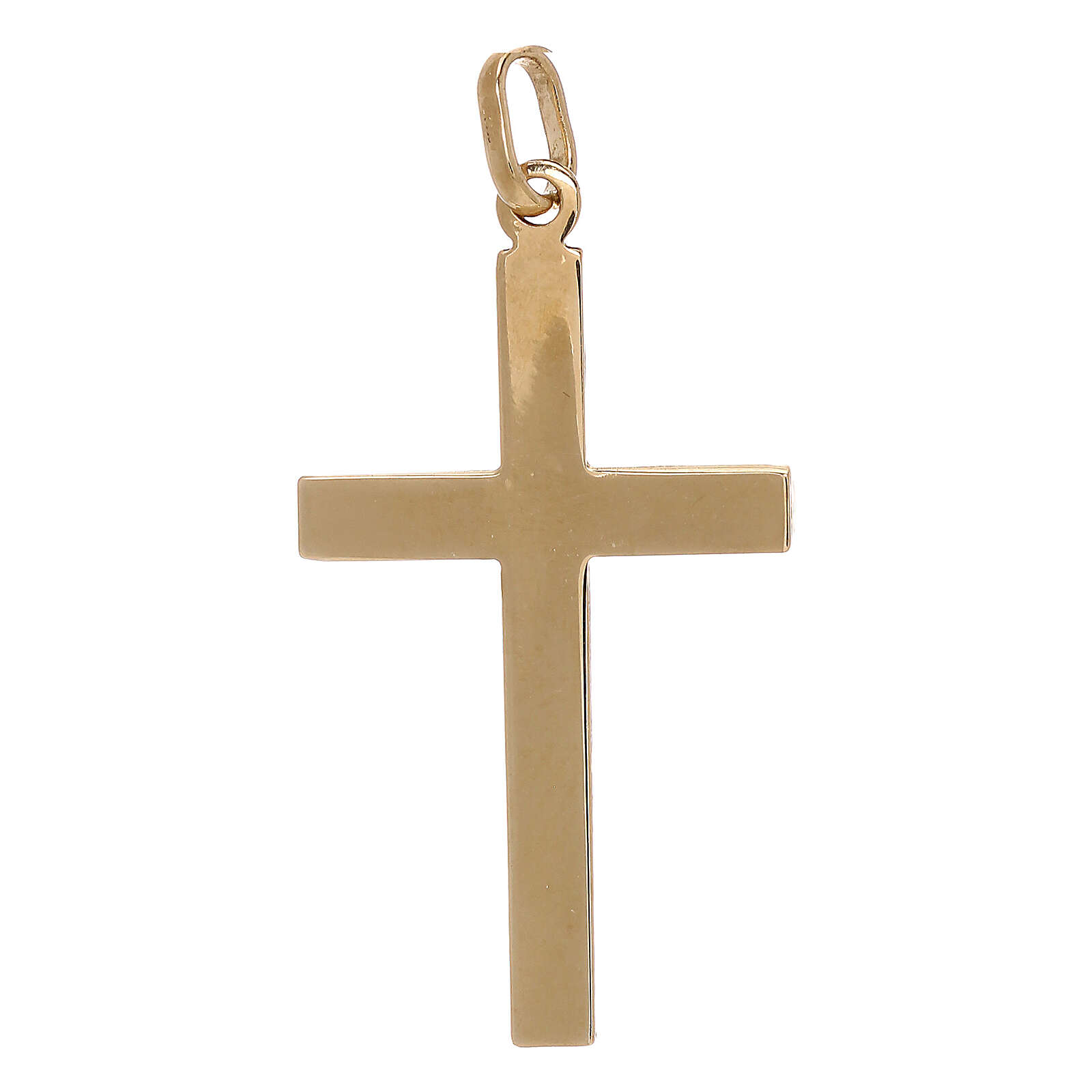 Croce pendente decoro righe oro giallo 750/00 1,1 gr 4