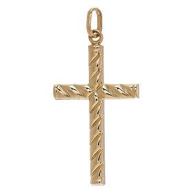 Croce pendente decoro righe oro giallo 750/00 1,1 gr s1