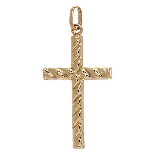 Croce pendente decoro righe oro giallo 750/00 1,1 gr 1