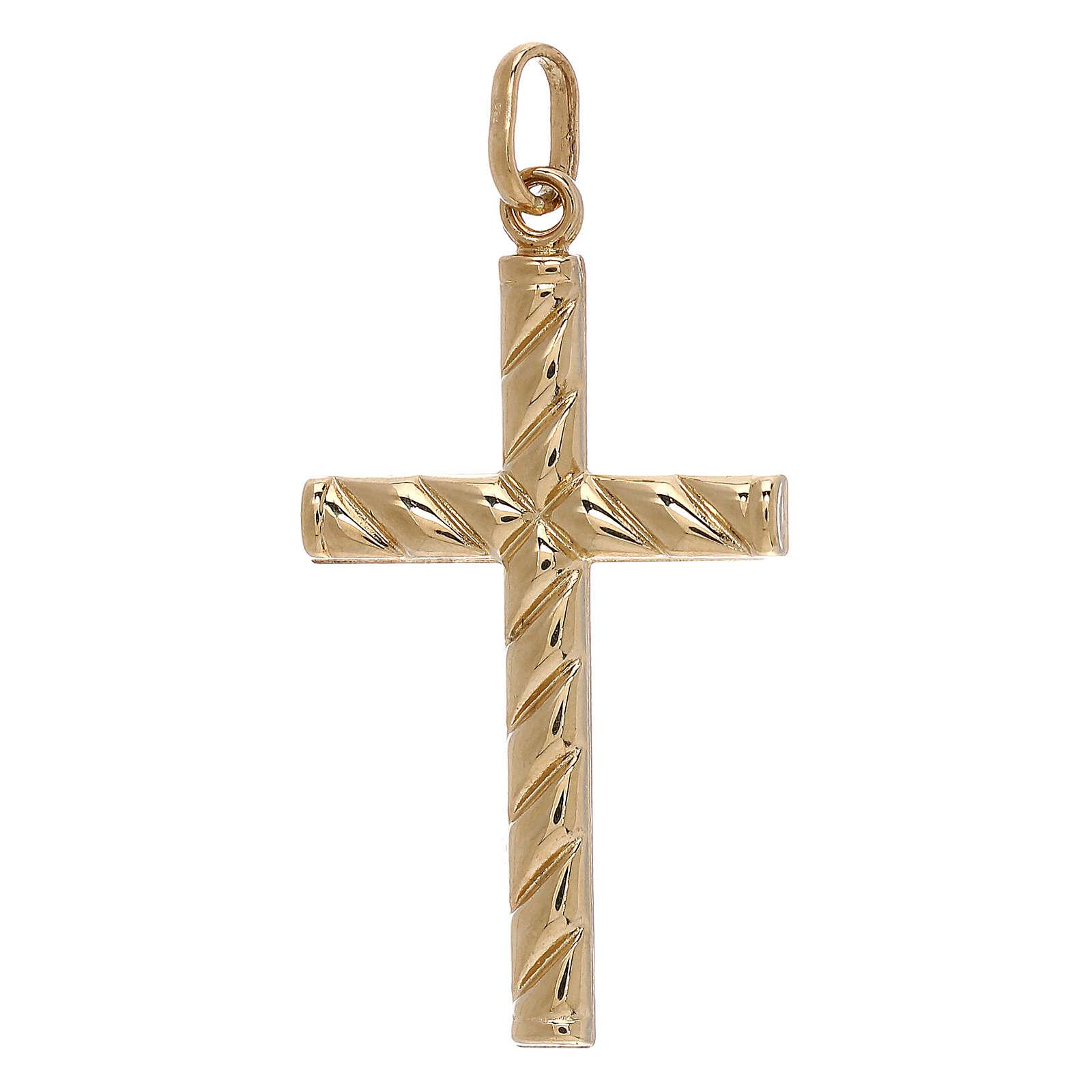 Cross pendant lined pattern 750/00 yellow gold 1.1 gr 4