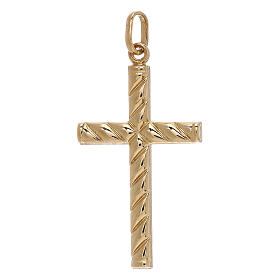 Cross pendant lined pattern 750/00 yellow gold 1.1 gr s1