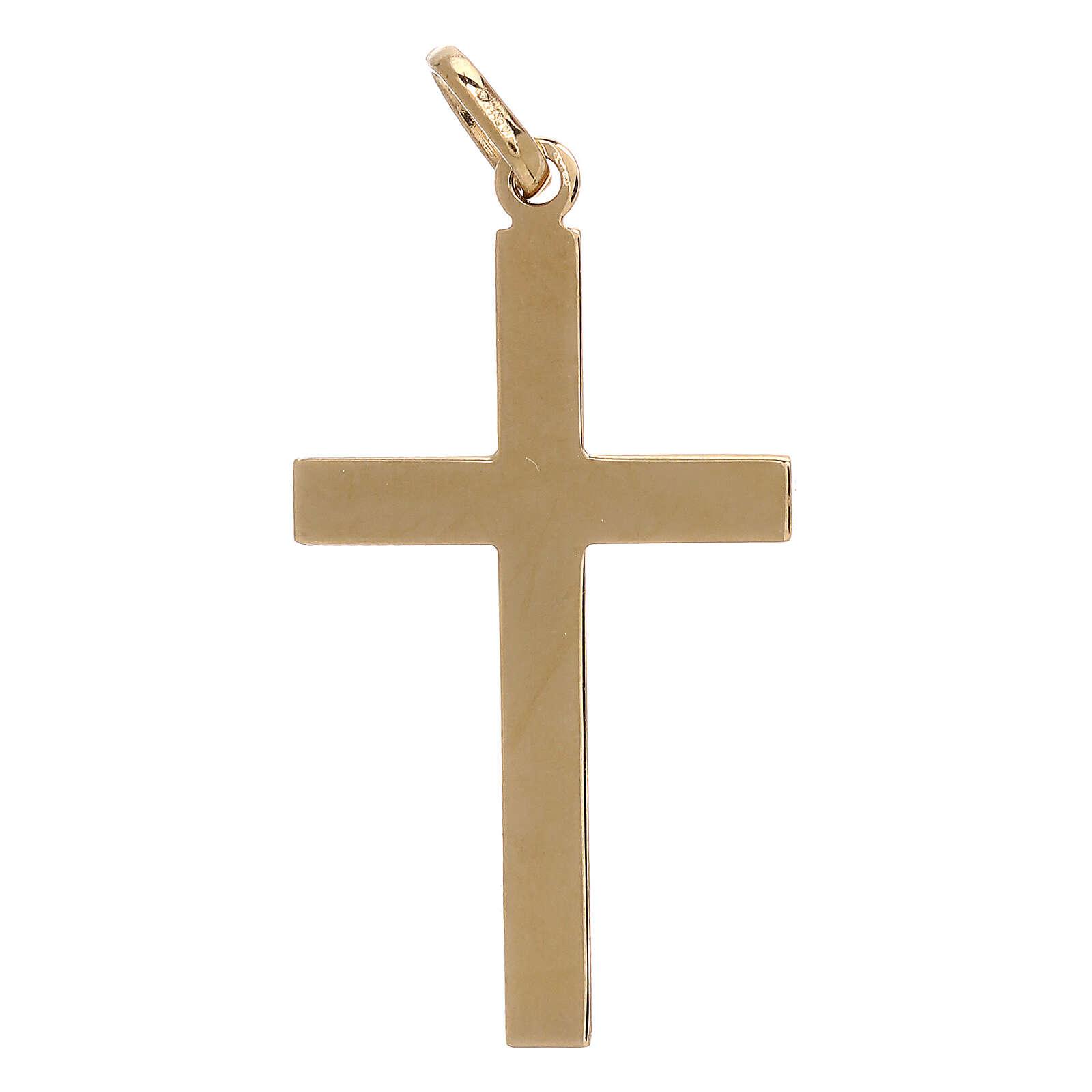 Pendente croce bicolore oro 18 kt fasce zigrinate 1,15 gr 4