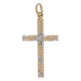 Pendente croce bicolore oro 18 kt fasce zigrinate 1,15 gr s1