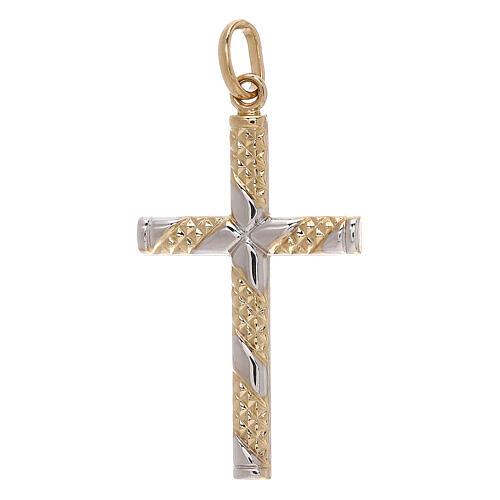 Pendente croce bicolore oro 18 kt fasce zigrinate 1,15 gr 1