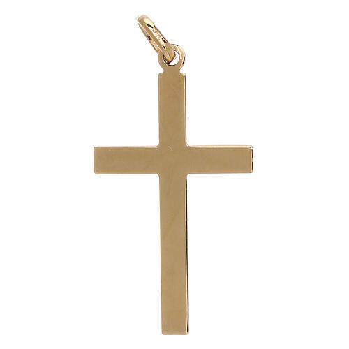 Pendente croce bicolore oro 18 kt fasce zigrinate 1,15 gr 2