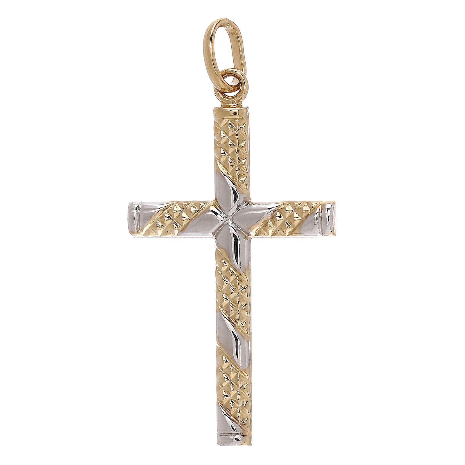 Cross pendant 18-carat gold knurled bands 1.15 gr 4