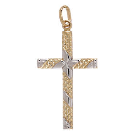 Cross pendant 18-carat gold knurled bands 1.15 gr s1