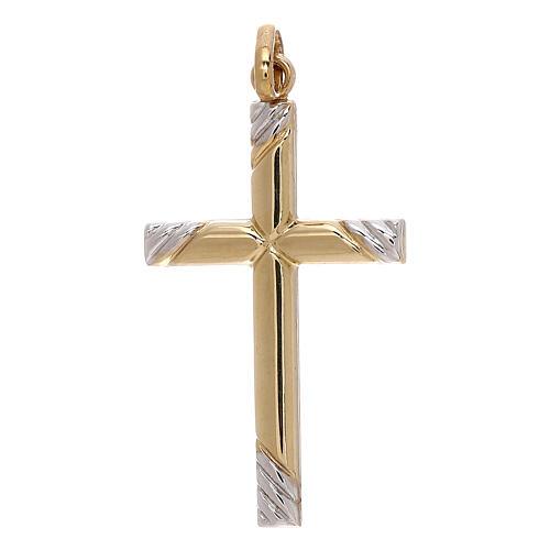 Cruz bicolor extremidades rayas oro 750/00 1,1 gr 1