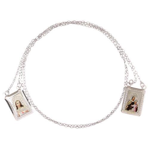 Vatican scapular rectangular color medal 750/00 white gold 4.6 gr 3