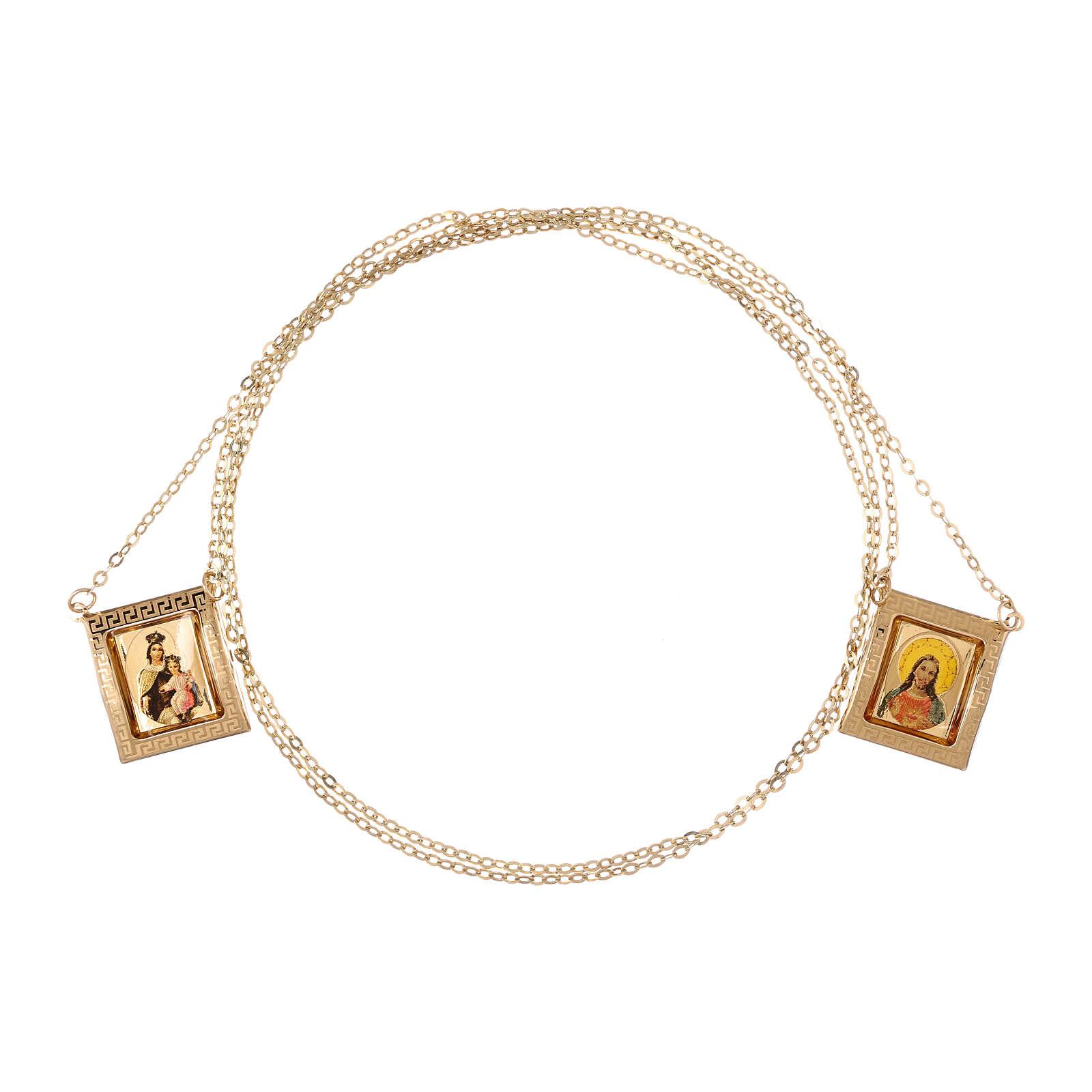 Scapolare oro giallo 18 kt medaglia a colori cornice greca 4,4 gr 4