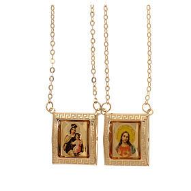 Scapolare oro giallo 18 kt medaglia a colori cornice greca 4,4 gr s1