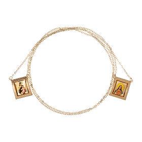 Scapolare oro giallo 18 kt medaglia a colori cornice greca 4,4 gr s3