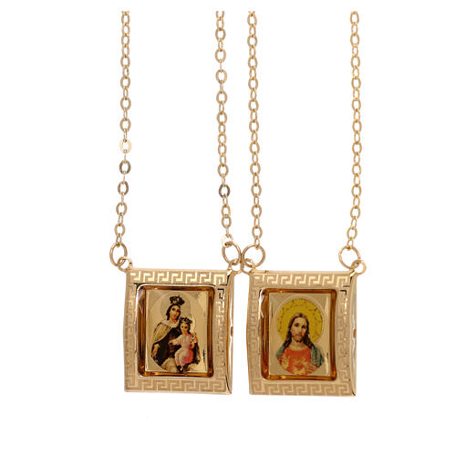 Scapolare oro giallo 18 kt medaglia a colori cornice greca 4,4 gr 1