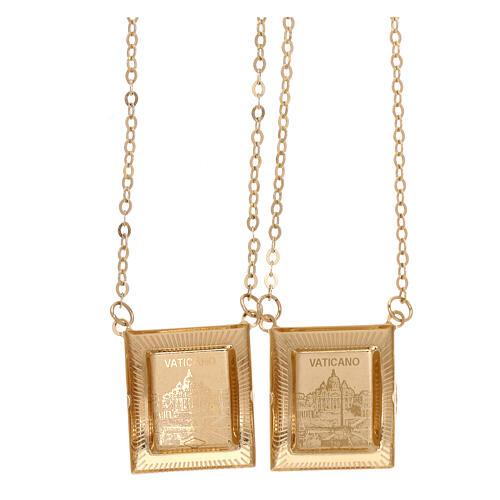 Scapolare oro giallo 18 kt medaglia a colori cornice greca 4,4 gr 2