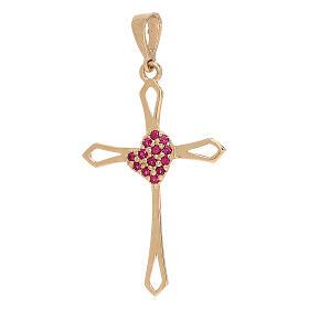 Pendentif croix or jaune 750/00 Swarovski rouges coeur 1,2 gr s1