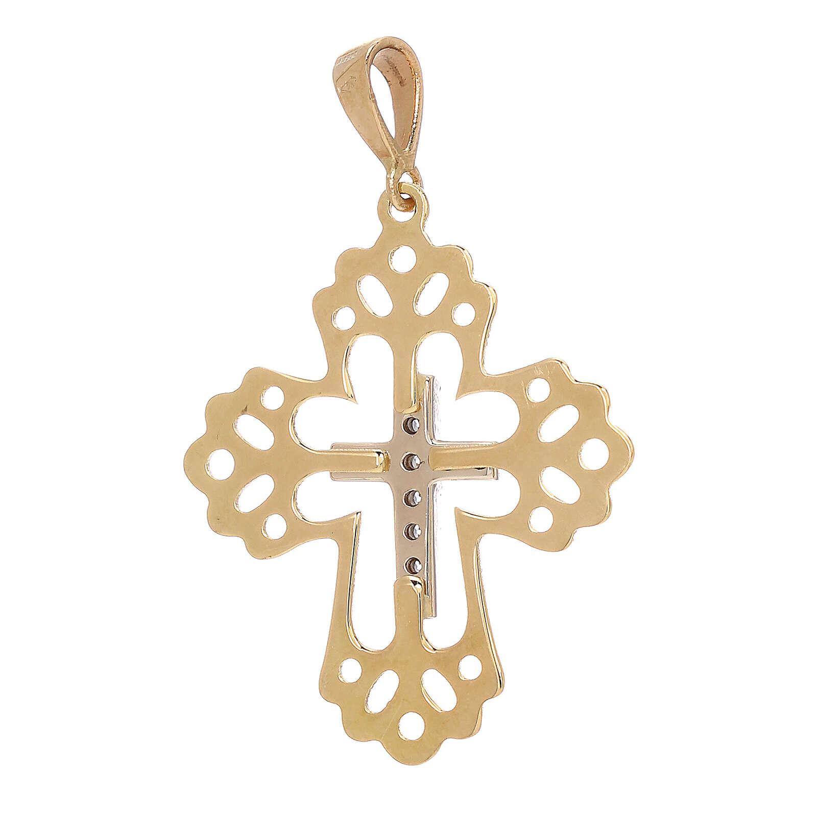 Pendente croce Swarovski bianchi cornice traforata oro 18 kt 4