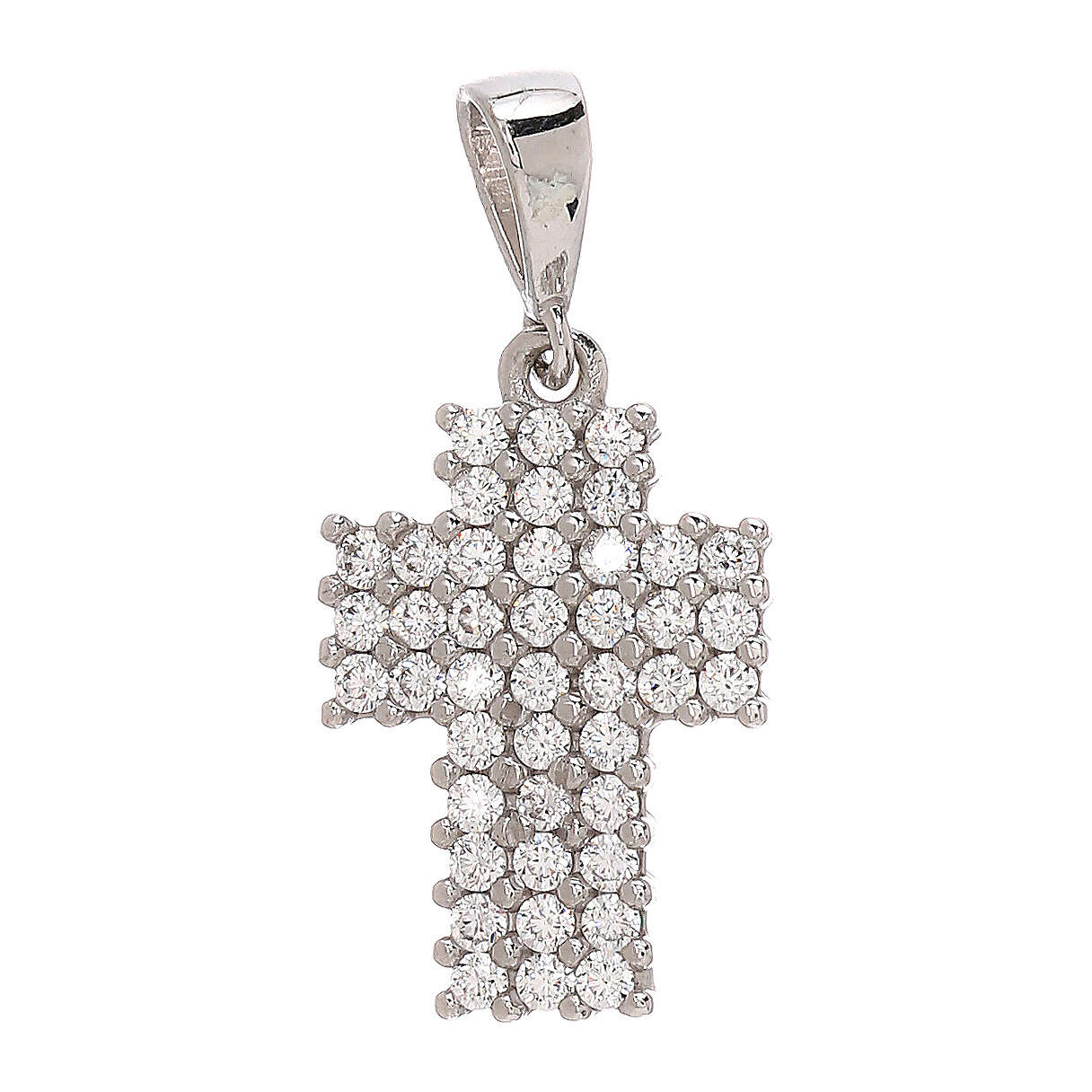 Colgante cruz pavés oro blanco 18 k Swarovski 1,15 gr 4