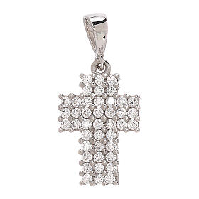 Pendente croce a pavé oro bianco 18 kt Swarovski 1,15 gr s1