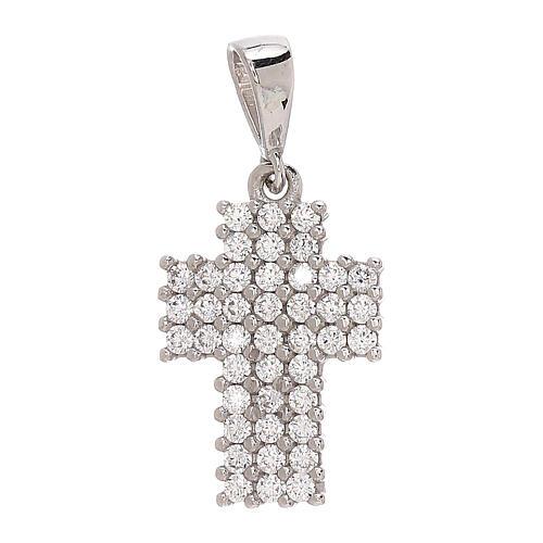 Pendente croce a pavé oro bianco 18 kt Swarovski 1,15 gr 1