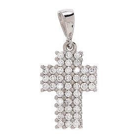 Pendant pavé-set cross 18-carat white gold Swarovski 1.15 gr s1