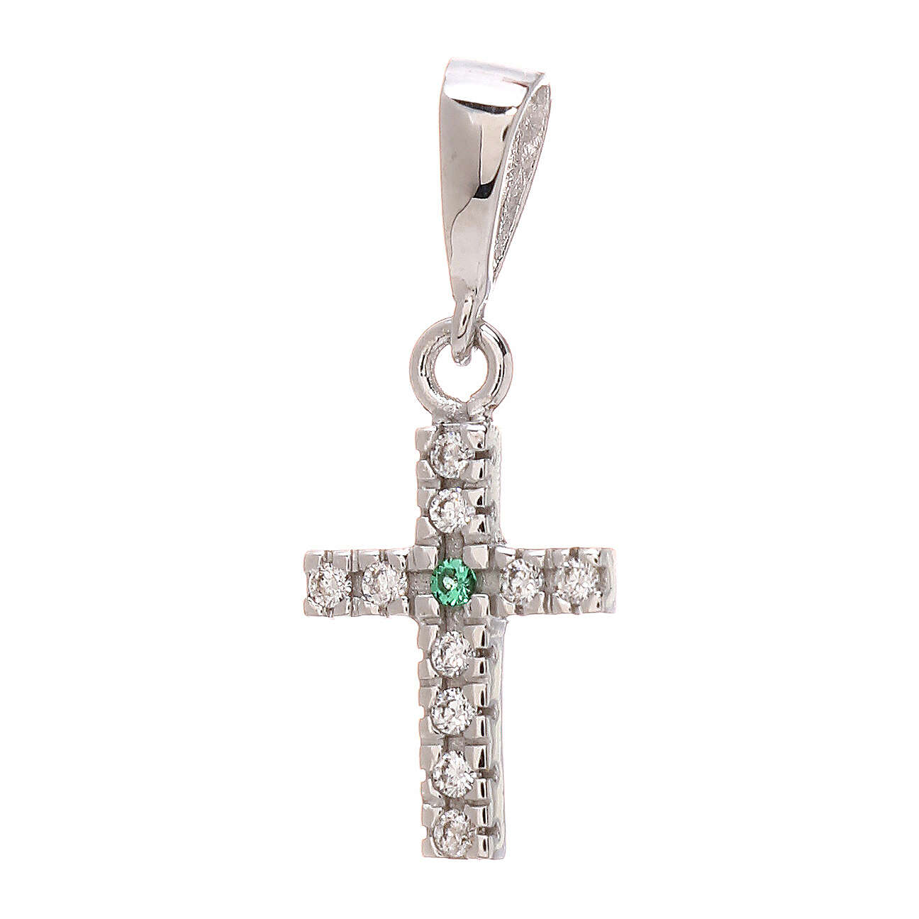 Cross pendant in 750/00 white gold with white and green Swarovski 0.85 gr 4