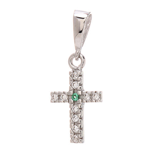 Cross pendant in 750/00 white gold with white and green Swarovski 0.85 gr 1