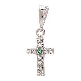 Croce pendente Swarovski bianchi verde oro bianco 750/00 0,85 gr s1