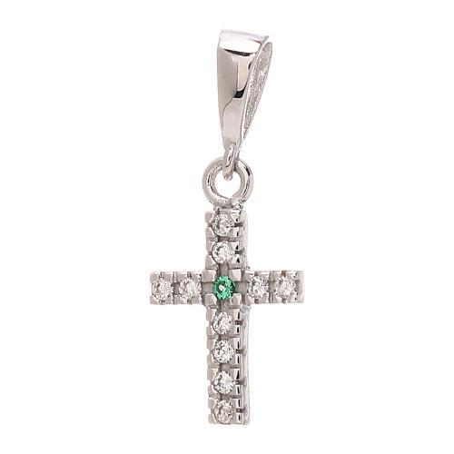 Croce pendente Swarovski bianchi verde oro bianco 750/00 0,85 gr 1