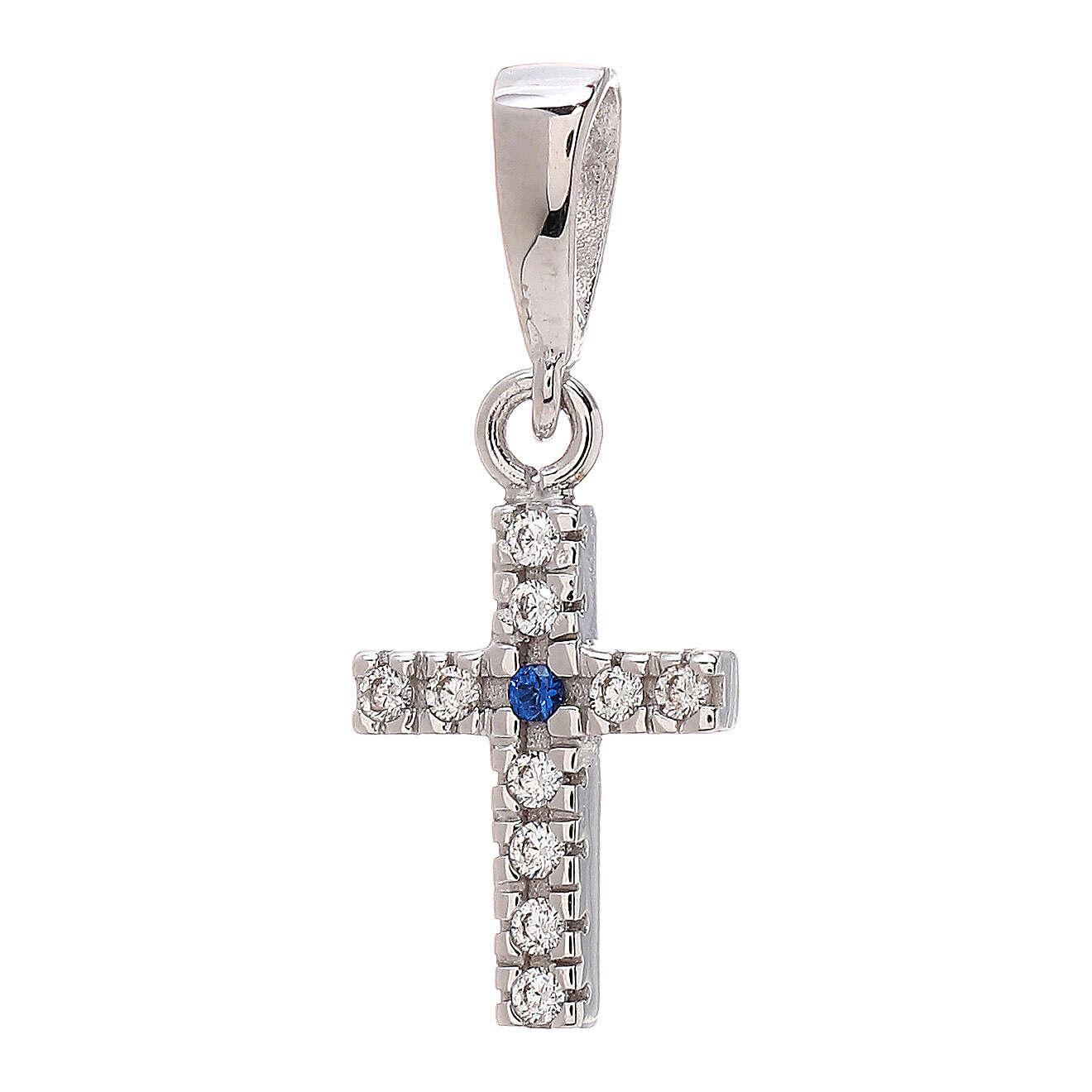 Croce Swarovski blu bianchi oro bianco 750/00 0,8 gr 4