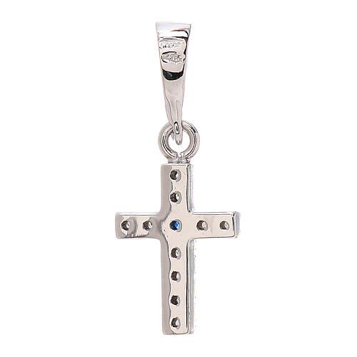 Croce Swarovski blu bianchi oro bianco 750/00 0,8 gr 2