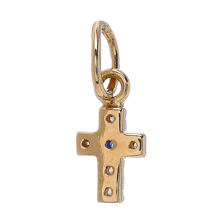 Pendente mini croce Swarovski oro giallo 18 kt 0,45 gr 4