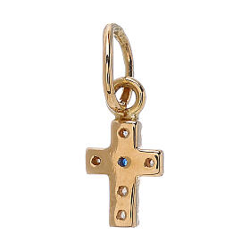 Pendente mini croce Swarovski oro giallo 18 kt 0,45 gr s2