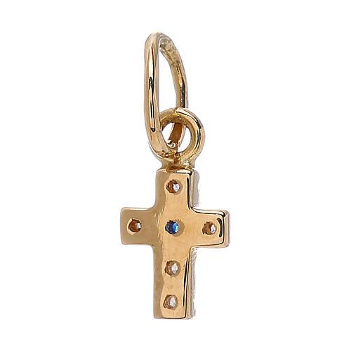 Pendente mini croce Swarovski oro giallo 18 kt 0,45 gr 2