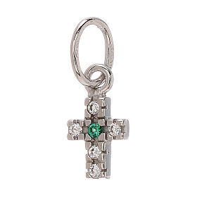 Pendant tiny cross Swarovski 18-carat white gold 0.45 gr s1