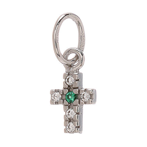 Pendant tiny cross Swarovski 18-carat white gold 0.45 gr 1