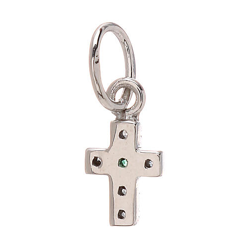 Pendant tiny cross Swarovski 18-carat white gold 0.45 gr 2