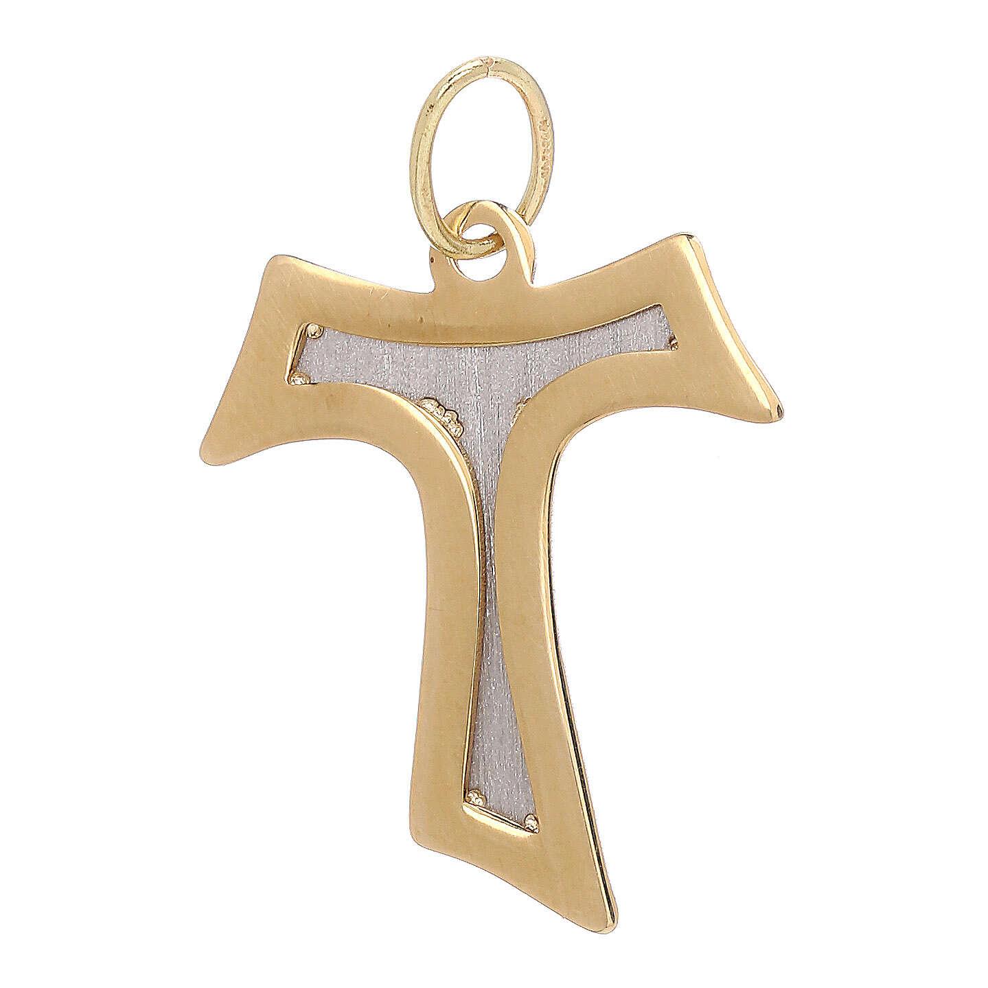 Tau pendant 18-carat bicolor gold polished and satin-finished 1.3 gr 4