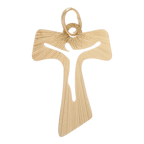 Tau pendant satin-finished yellow gold wood effect perforated body of Christ 1.2 gr 1