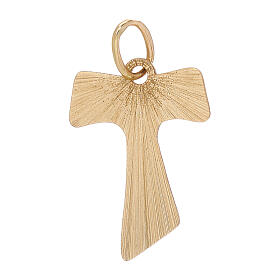 Tau pendant 18-carat yellow gold wood effect 0.7 gr s1