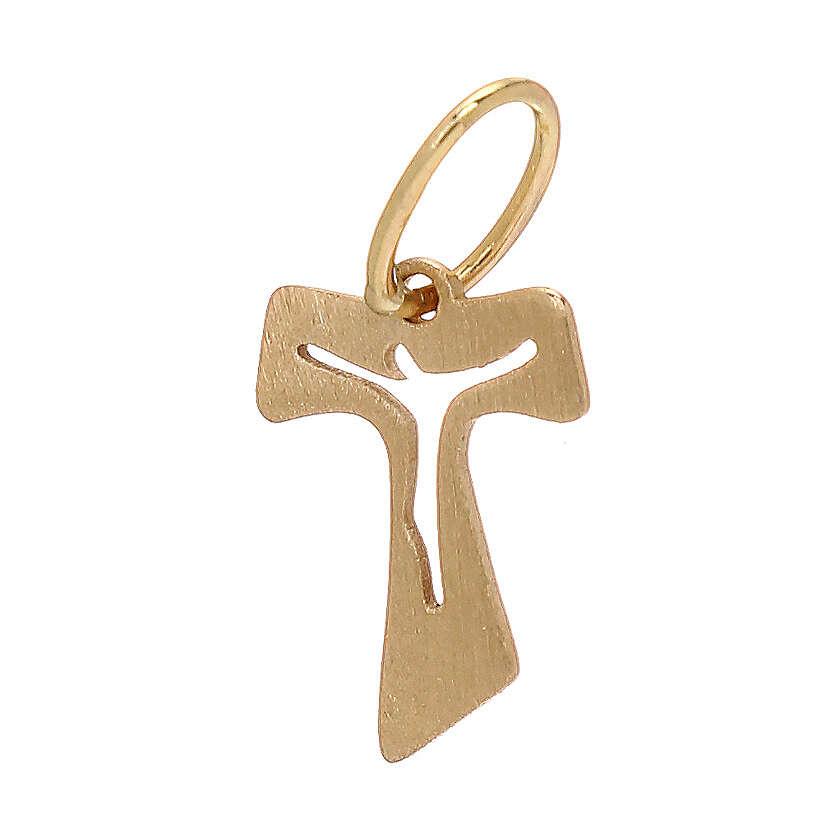 Tau miniatura ouro amarelo efeito madeira 18K 0,15 gr 4