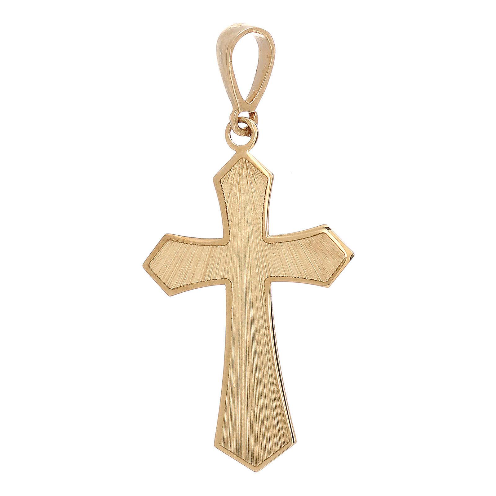 Pendente croce oro giallo 18 kt satinato effetto legno 0,9 gr 4
