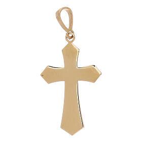 Pendente croce oro giallo 18 kt satinato effetto legno 0,9 gr s2