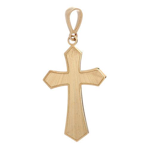 Pendente croce oro giallo 18 kt satinato effetto legno 0,9 gr 1